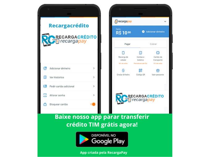 Baixe nosso app para transferir credito tim