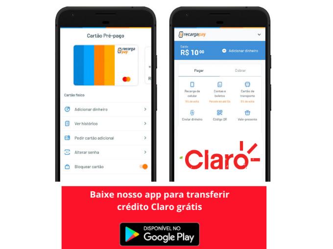 Baixe nosso app para transferir credito Claro