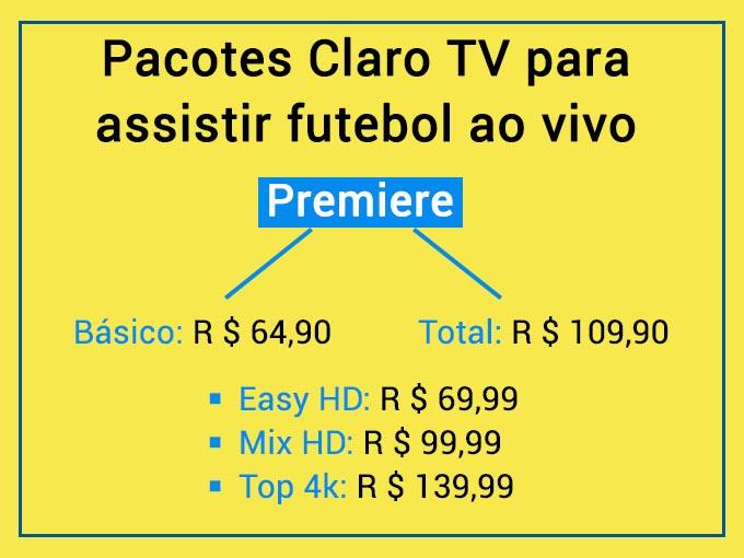 Pacotes de canais no Claro TV para assistir futebol ao vivo